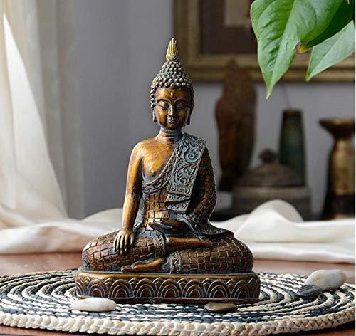 LOSAYM Estatuas para Jardín Esculturas Y Estatuas De Jardín Vintage Resina Imitación Bronce Sakyamuni Buda Estatua Buda Estatua Guanyin Bodhisattva Estatua Sudeste De Asia Buda Cabeza Decoración
