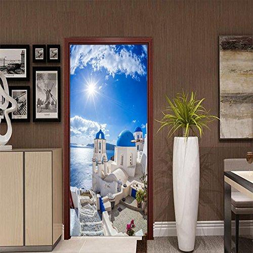 Paysage méditerranéen Creative Door Autocollants 2pcs porte de chambre à coucher de la personnalité porte décorative Rénovation autocollants 38,5 * 200cm
