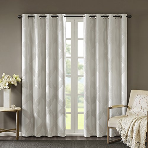 """SUNSMART Bentley Total Blackout Curtains Window, Ogee Knitted Jacquard, Grommet Top Living Room Decor, Thermal Insulated Light Blocking Drape for Bedroom and Apartments, 50"""" x 95"""", Ivory"""