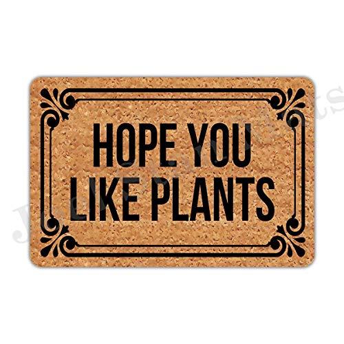 """Joelmat Entrance Hope You Like Plants Non-Slip Indoor Rubber Door Mats for Front Door/Bathroom/Garden/Kitchen/Bedroom 23.6""""x 15.7"""""""