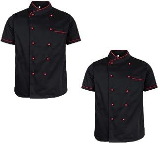 IPOTCH Ristorante Uniforme Chef Giacca Manica Corta Cameriere Cappotto Hotel Cucina Camicia Unisex Abbigliamento da lavoro e divise Giacche da chef