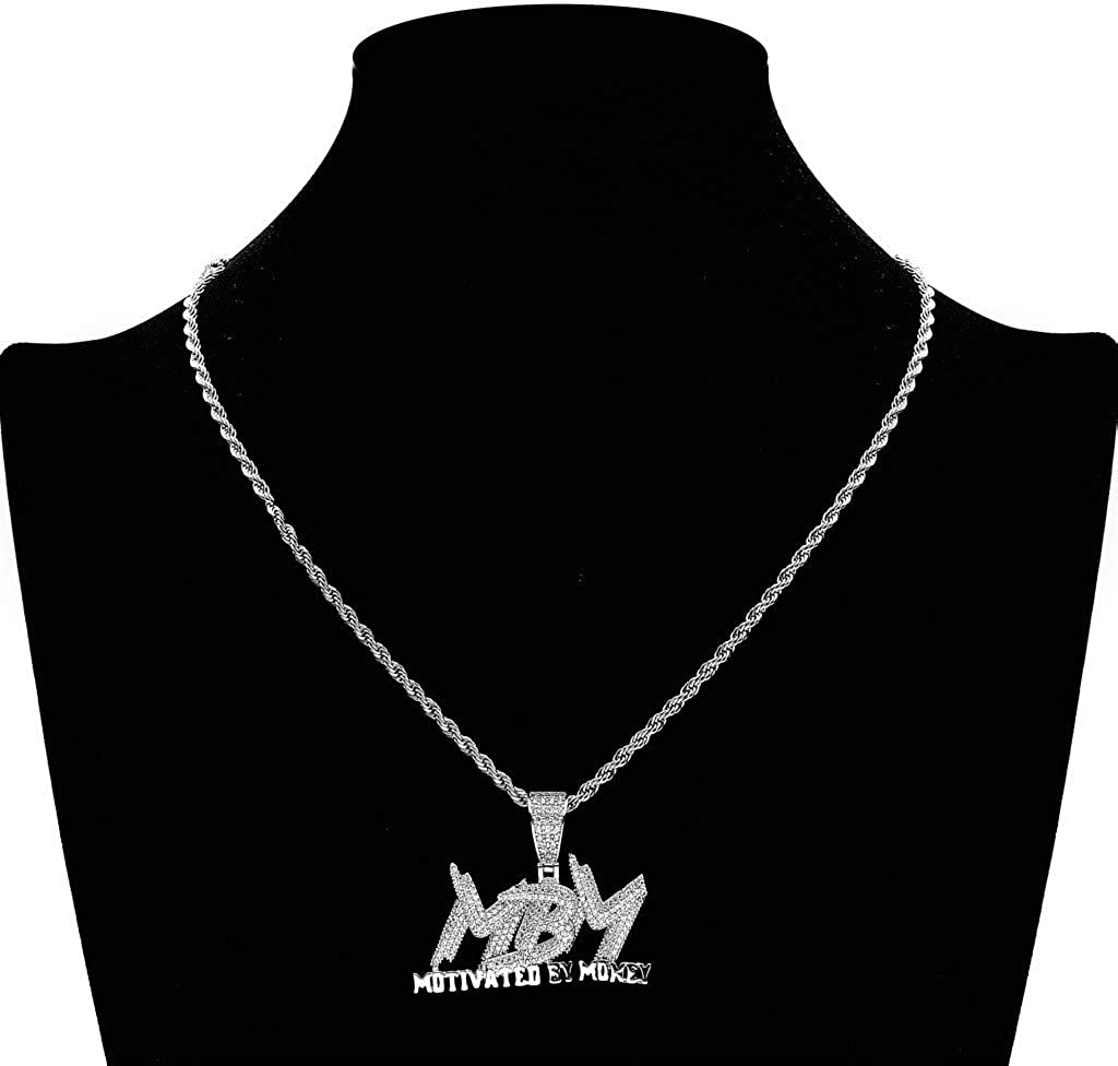 Saint Design No Tarnish Real Gold Plate Hip Hop Iced Out Pendant Necklace Full CZ Lab Diamond for Men Women (Motivated by Money)