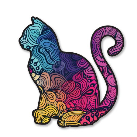 AK Wall Art Cat Colorful Pattern Cute Trendy Vinyl Sticker - Car Window Bumper Laptop - Select Size