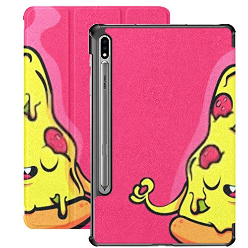 Funda Galaxy Tablet S7 Plus de 12,4 Pulgadas 2020 con Soporte para bolígrafo S, Personaje de Dibujos Animados Divertido Cute Pizza Meditando Funda Protectora Delgada con Soporte para Samsung