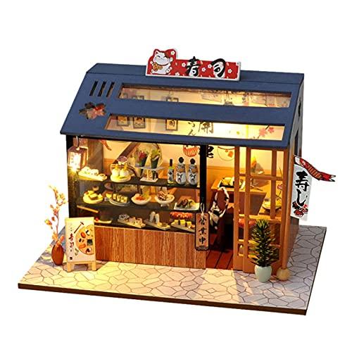 Luckxing Casas De Munecas Miniaturas con Muebles Equipo De Casa De Muñecas De Madera DIY Lugar De Sushi Miniatura De La Casa De Muñecas