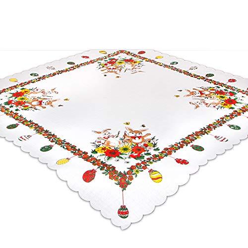 Tischdecke MALERHASEN zu Ostern, 85x85 cm, weiß Ecru, Bedruckte Mitteldecke zur Osterzeit