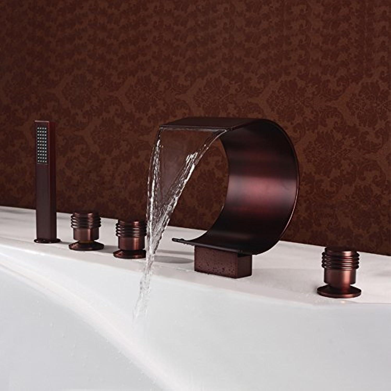 DolphinIsland 5-teilige Wasserfall-Badezimmer-Wasserhahn, Moderne Messing-Bade-Badezimmer-Wasserhahn 5 Lcher 3 verwandte braune Crescent-frmigen Badewanne Wasserhahn (Drehschalter)