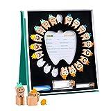 Caja de dientes, caja de madera para guardar dientes de bebé, con pinzas de almacenamiento, colección de recuerdos de niño y niña, estuche de recuerdo para niños