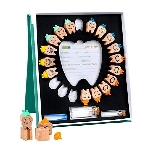 SUPYINI Zähne spart Box Holzzahn Andenken Box Zahn Aufbewahrungshalter mit Pinzette Zähne Organizer Laubzahn Box Container zur Aufbewahrung des Kindergedächtnisses