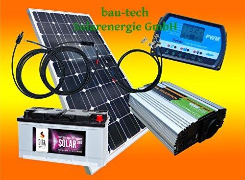 100 Watt Inselanlage, 12 Volt Komplett SET mit Spannungswandler mit Batterie von bau-tech Solarenergie GmbH