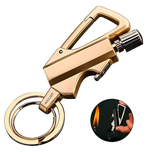 BOLLAER Outdoor Match Lighter - Waterproof - Equipement de survie - Randonnée, Match Starter - Porte-clés et ouvre-bouteilles - Excellentes idées cadeaux et équipement de survie, Gold
