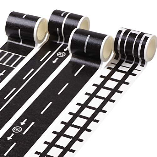 STOBOK Road Tape Autobahn Eisenbahn Straßen Klebeband DIY Abnehmbar Aufkleber für Spielzeugautos 9 Stück