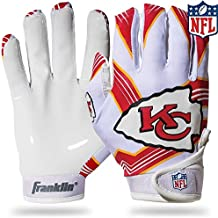 Franklin Sports Kansas City Chiefs Youth NFL Football Receiver Gloves - Receiver Gloves for Kids - NFL Team Logos and Silicone Palm - Youth S/XS Pair