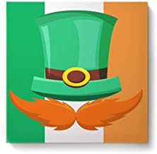 Canvas Wall Art Picture Home Office Decorations Poster Paintings St. Patrick's Day Print On Canvas Giclee Artwork Wall Décor Ready to Hang, 20x20inch Leprechaun Hat Beard Ireland Flag Background