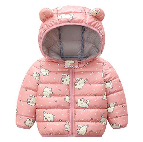 FeiliandaJJ Kinder Baby Mädchen Winter Jacke Mantel mit Kapuze Bär Ohr Cartoon Elefant Drucken Steppjacken Warme Leicht Outdoor Winddicht Kindermantel Outerwear (Rosa, 100 (18-24 Monate))