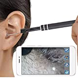 Mrinb Ear Otoscope with 6 Adjustable LED Lights, 3 in 1 HD Home Ear Cleaning Endoscope, Support UVC Driverless Camera, for Android Smartphone Tablet (Black)