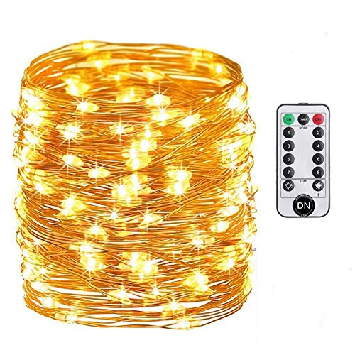 Daily-Necessities Battery Operated String Lights, 33ft 100 LED String Lights Dimmable with Remote Control for Outdoor, Bedroom, Garden, Christmas, Party, Wedding (Waterproof, Copper Wire, Warm White)