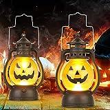 Kürbis Licht, 3 Stück Halloween Laterne mit LED Kerze, Kürbis Laterne Teelichter Batterie LED Kürbis Licht Vintage Laterne Nachtlicht Tragbare Kürbis Lichter für Halloween Deko - 4