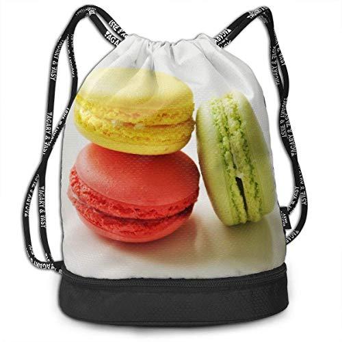 PmseK Turnbeutel Sportbeutel Kordelzug Rucksack, Drawstring Bag Macaroon Shoulder Bags Travel Sport Gym Bag Print - Yoga Runner Daypack Shoe Bags with Zipper and Pockets