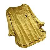 Luckycat Camisas Larga para Mujer, Túnica con Cuello en V d