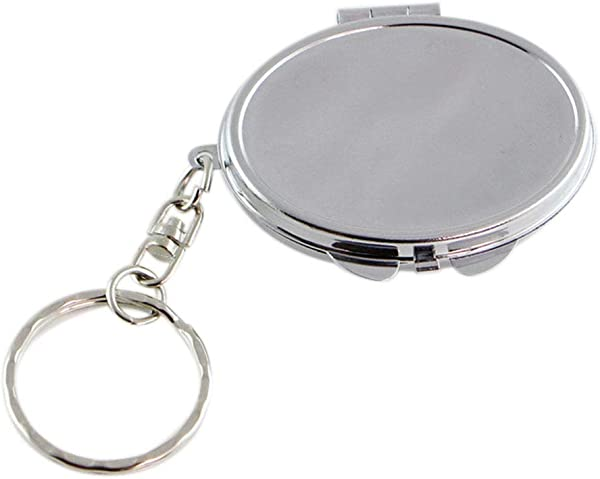 Round Heart Oval Sqaure Shape Double Sides Cosmetic Mirror Metal Folding Keychain Makeup Mini Mirror