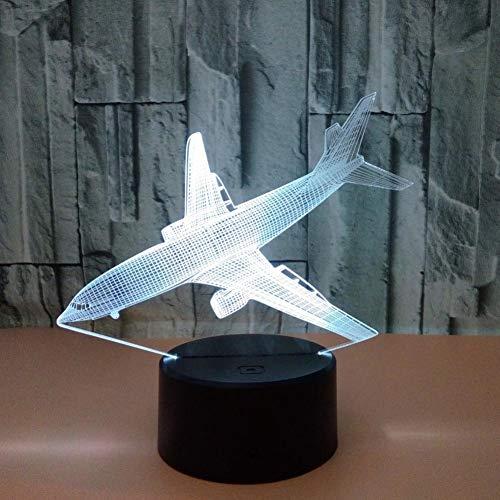 Yujzpl 3D-illusielamp Led-nachtlampje, USB-aangedreven 7 kleuren Knipperende aanraakschakelaar Slaapkamer Decoratie Verlichting voor kinderen Kerstcadeau-Landend vliegtuig