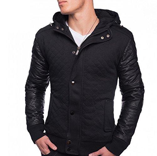 ArizonaShopping Herren Jacke Übergangsjacke mit Lederärmeln Ontario ID1339 (Schwarz/Grau), Farben:Schwarz, Größe Jacken:XXL