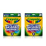 Crayola marcadores lavables ultra limpios, línea ancha, 8 unidades (paquete de 2)