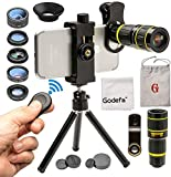 Godefa Cell Phone Camera Lens Kit 6 in 1, 0.63X Wide Angle 18X Telephoto Zoom 198° Fisheye 15X Macro 6X Kaleidoscope CPL Filter, Clip-On Mobile Smart Phone Lens with Tripod+ Remote for Samsung iPhone