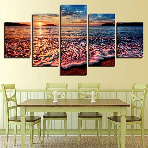 N / A AQSSJJ 5 pintura decorativa arte de pared 5 piezas puesta del sol mar olas pinturas paisaje marino playa decoración habitación