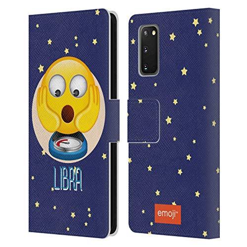 Head Case Designs Offizielle Emoji® Waage Sternzeichen Leder Brieftaschen Huelle kompatibel mit Samsung Galaxy S20 / S20 5G
