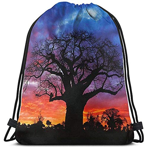 MOTALIN Drawstring Bolso,Mochila con Cordón,Bolsas De Cuerdas Gimnasio,Backpack,African Baobab Tree Women/Men Cinch Pack,Mochila De Viaje Deportivo,Bolso Ligero