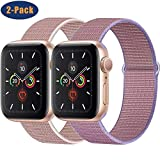 OHCBOOGIE Compatible with Apple Watch Band 38mm 40mm 42mm 44mm, Sport Band Soft Breathable Nylon Replacement Compatible with iWatch Series 5/4/3/2/1,2pack
