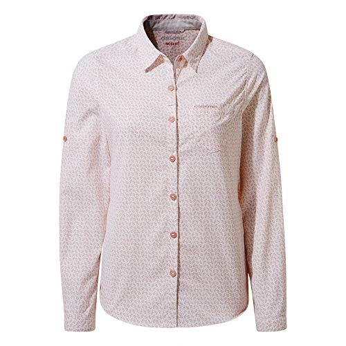 Craghoppers W NosiLife Gisele Langarm-Bluse Pink, Damen Daunen Hemd, Größe 38-12 - Farbe Corsage Pink Print