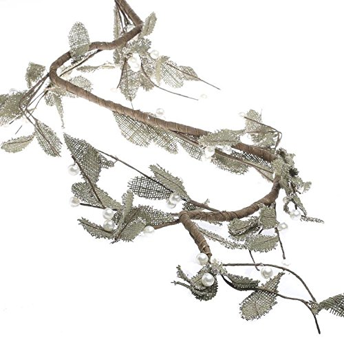 Factory Direct Craft Sparkling Burlap Leaf and Pearl Berry Mistletoe Garland for Holiday and Home Decor