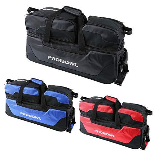 Bowling 3 Ball Tasche ProBowl Triple Tasche Roller Bowlingschuhe & Zubehör inkl. Adressanhänger (rot)