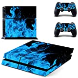 UUShop Vinyl Skin Decal Sticker Cover Set for Sony PS4 Console and 2 Dualshock Controllers Skin Blue Ice Fire
