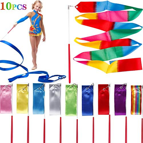 Tinabless Dance Ribbons Streamers(10 Pieces), 6.6Ft Unisex Kids' Gymnastics Ribbon Wands, Rhythmic Gymnastics Ribbon Baton Twirling Wands on Sticks for Kids Artistic Dancing