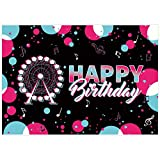 Allenjoy 7x5ft Music Rock Themed Birthday Party Backdrop Ferris Wheel Graffiti Gradient Decorations Photography Background Tapestry Supplies Home Decor Video Studio Banner Photo Booth Props