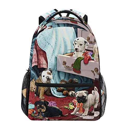 Ovilsm Rucksäcke,Schultaschen,Dogs Mischief Makers School Backpack Lightweight Large Capacity Daypack Bookbags Travel Bag for College Student Laptop