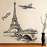 YUSDK Romantische Paris Tower Flugzeug Dekoration Wandaufkleber Wohnzimmer Schlafzimmer Dekoration...