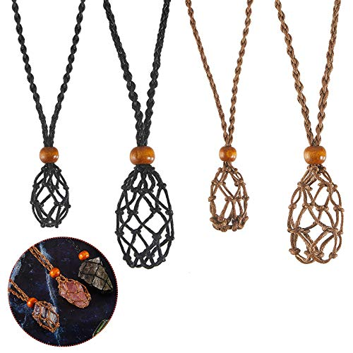4 Pieces Empty Stone Holder Necklace Cord Decor Stone Necklace Cord Empty Stone Holder with Adjustable Length DIY Necklace Jewelry Making Accessories for Stone DIY Bracelet Necklace Jewelry Supplies