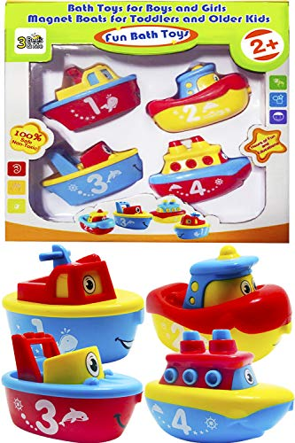 3 Bees & Me Bath Toys for Boys and Girls - Magnet Boat Set for Toddlers & Kids -...