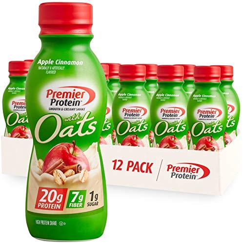 Premier Protein Shake with Oats, Apple Cinnamon, 20g Protein, 7g Fiber, 1g Sugar, 24 Vitamins & Minerals, Smooth & Creamy Breakfast Drink 11.5 fl oz, 12 Pack
