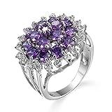 Daesar Anillo Compromiso Mujer,Chapado en Plata Anillo Púrpura Flor con Redonda Cristal Circonita Púrpura Talla 22