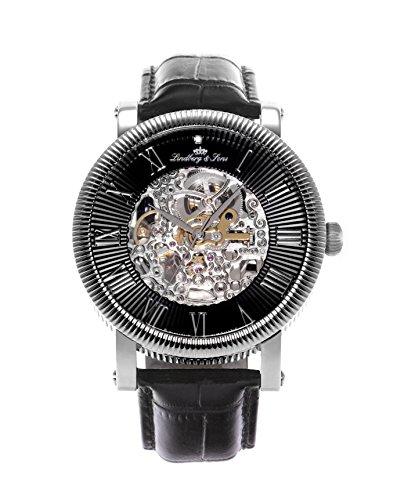 Lindberg & Sons Herren-Armbanduhr Automatik Analog Skelettuhr Leder Schwarz - SK14H018