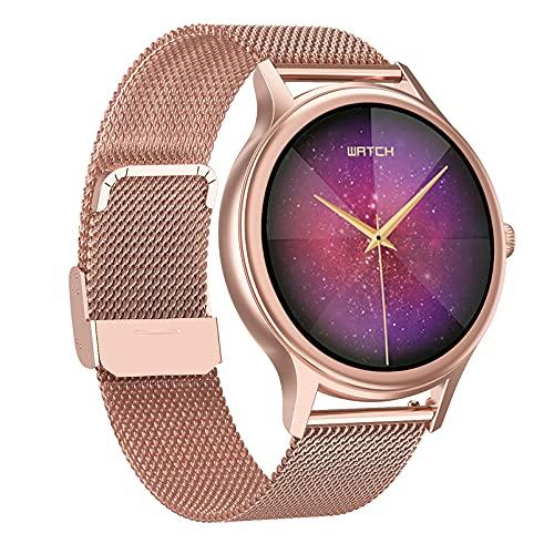HQPCAHL Smartwatch, Reloj Inteligente Mujer Hombre IP67 con Pulsómetro, 1.09 Inch Smartwatch Presión Arterial Monitor de Sueño SpO2 GPS Podómetro Pulsera Actividad Inteligente,Oro