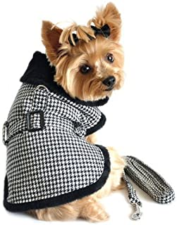 DOGGIE DESIGN Black and White Classic Houndstooth Dog Harness Coat with Leash (Medium)