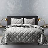 Shalala NEW YORK Bedding All Season Comforter Set with 2 Pillow Shams - Luxurious Silky Matte Satin Ultra Soft and Comfortable Quilted Comforter- Machine Washable (Silver Grey, Full/Queen)