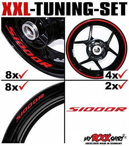 myrockshirt XXL-Tuning Set für BMW S1000R V2 1x Komplettsatz Felgenrandaufkleber/Rim Stripes/Felgenstreifen + 8 x Innerand-Felgen